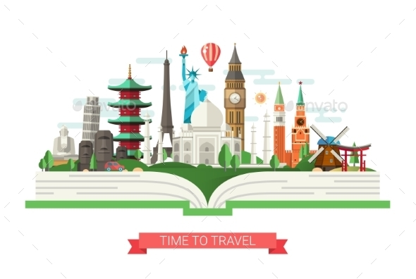 Flat Design Illustration with World Famous Landmarks - Travel Conceptual