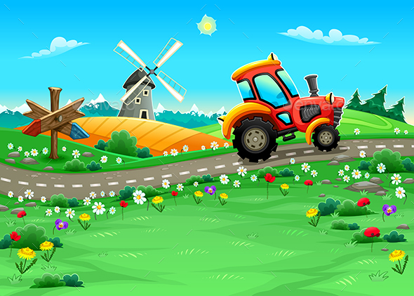 Landscape with Tractor on the Road - Landscapes Nature