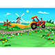 Landscape with Tractor on the Road - GraphicRiver Item for Sale