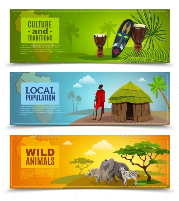 Africa Banners Set  - Travel Conceptual
