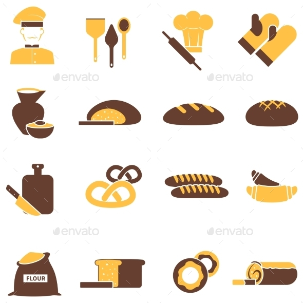 Bakery Icons Set - Food Objects