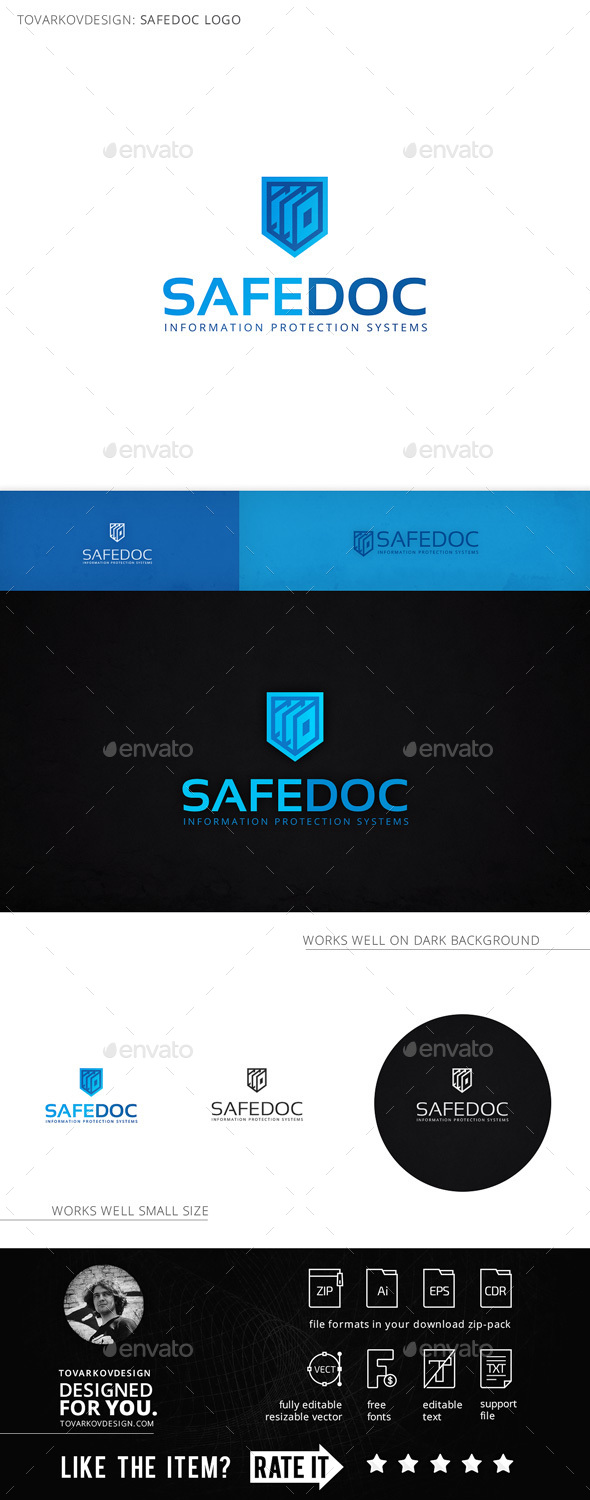 Safedoc Shield Document Logo Template - Objects Logo Templates