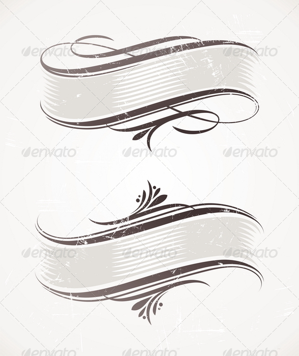 Vintage Scroll With Calligraphic Elements - Decorative Vectors