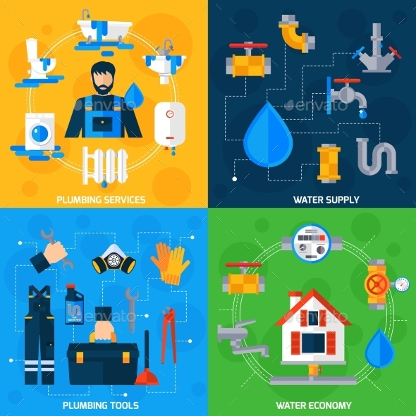 Plumber Service 4 Flat Icons Square  - Miscellaneous Conceptual