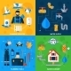 Plumber Service 4 Flat Icons Square