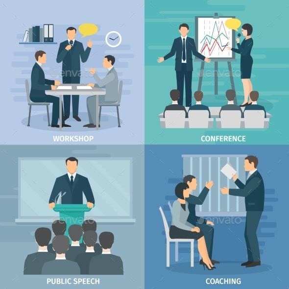 Public Speaking 4 Flat Icons Square  - Concepts Business