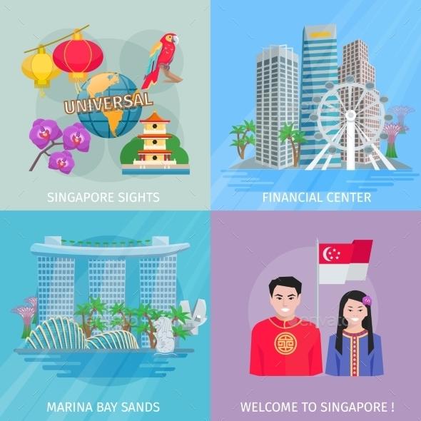 Singapore Culture 4 Flat Icons Square  - Travel Conceptual