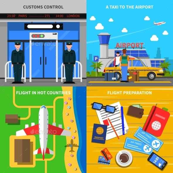 Airport Concept 4 Flat Icons Square  - Travel Conceptual