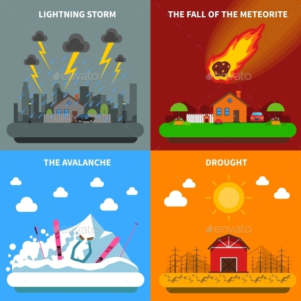 Disaster Concept 4 Flat Icons Square Banner - Landscapes Nature