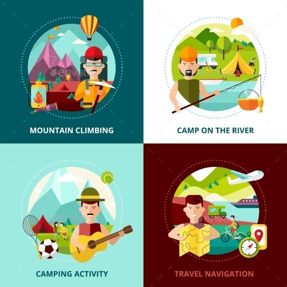 Camping Design Concept Banner - Travel Conceptual