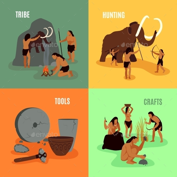 Prehistoric Stone Age 2X2 Images - Miscellaneous Characters