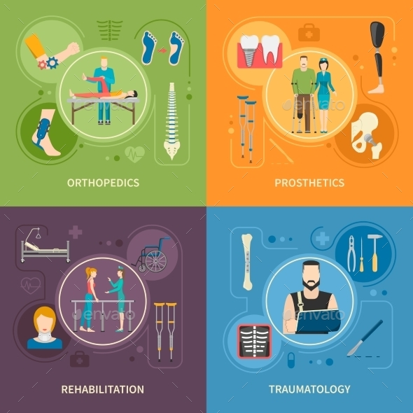 Traumatology Orthopedics 2X2 Flat Images - Health/Medicine Conceptual