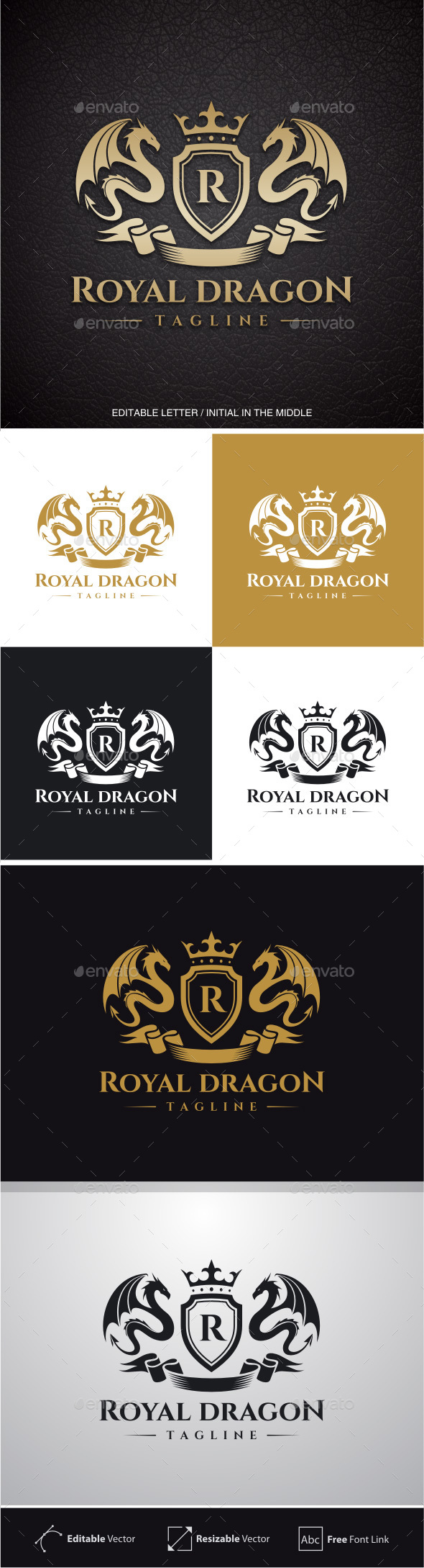 Royal Dragon (Editable Letter in the middle) - Crests Logo Templates