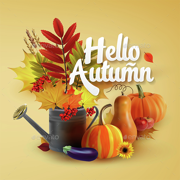Hello Autumn Typographical Background - Seasons Nature