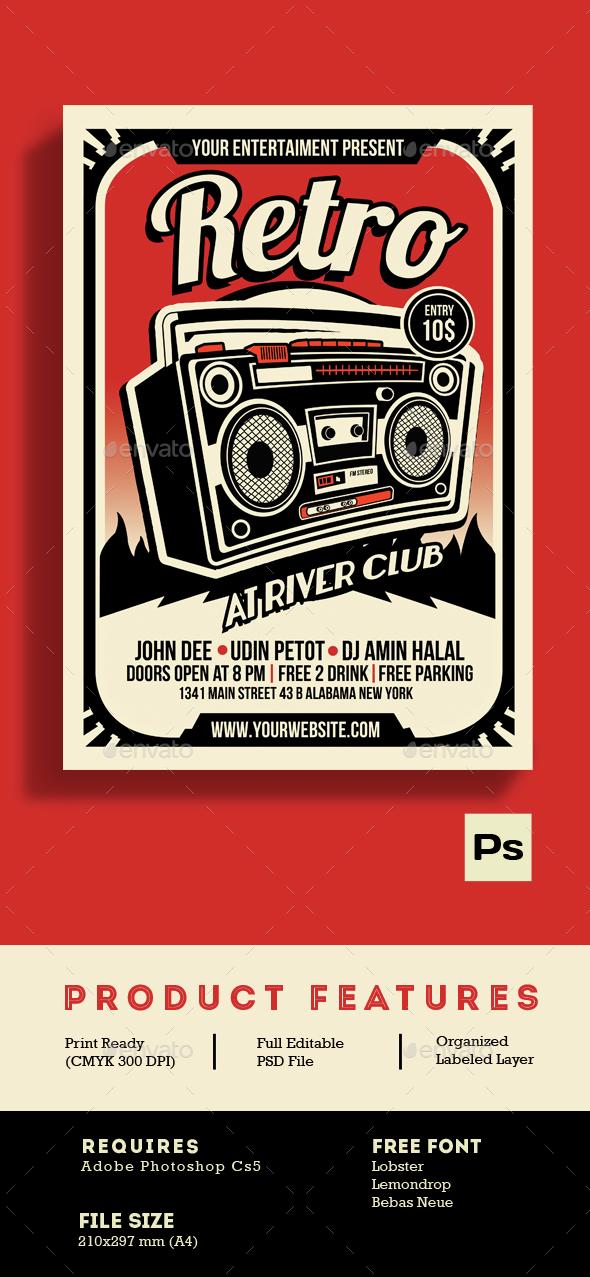 Retro Music Radio Flyer Poster - Flyers Print Templates
