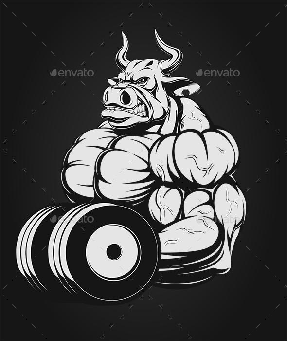 Ferocious Bull with Dumbbells - Sports/Activity Conceptual
