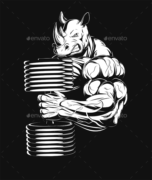 Rhino with Dumbbell - Sports/Activity Conceptual