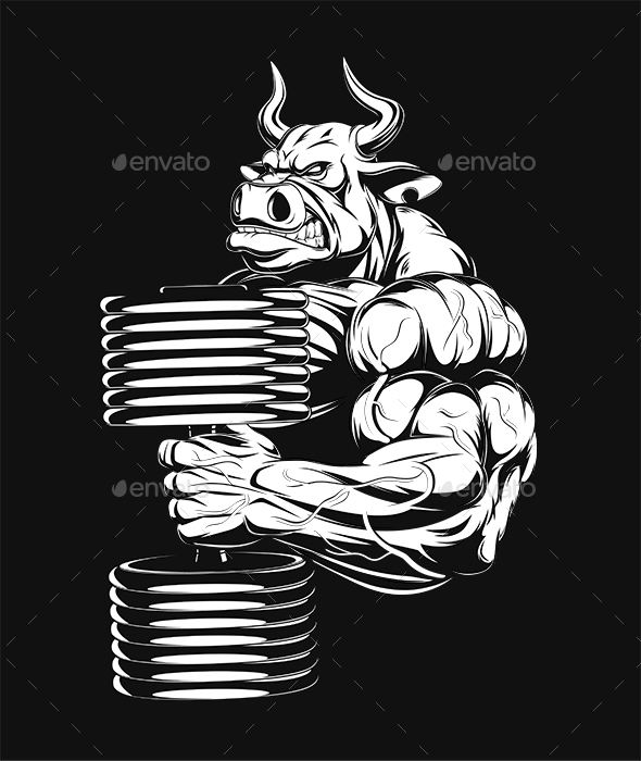 Ferocious Bull with Dumbbells - Sports/Activity Conceptual