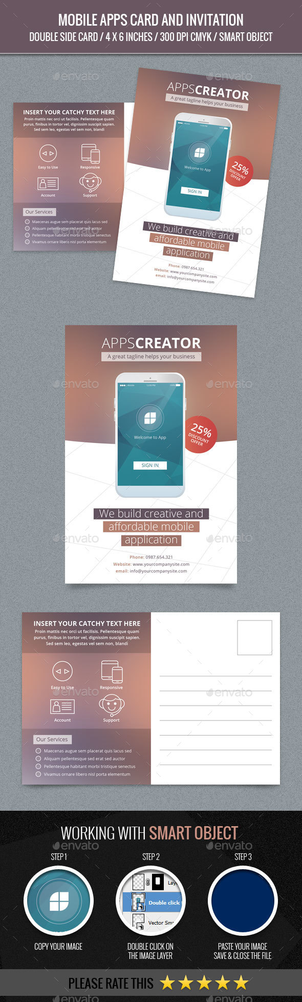 Mobile Apps Post Card Template - Cards & Invites Print Templates