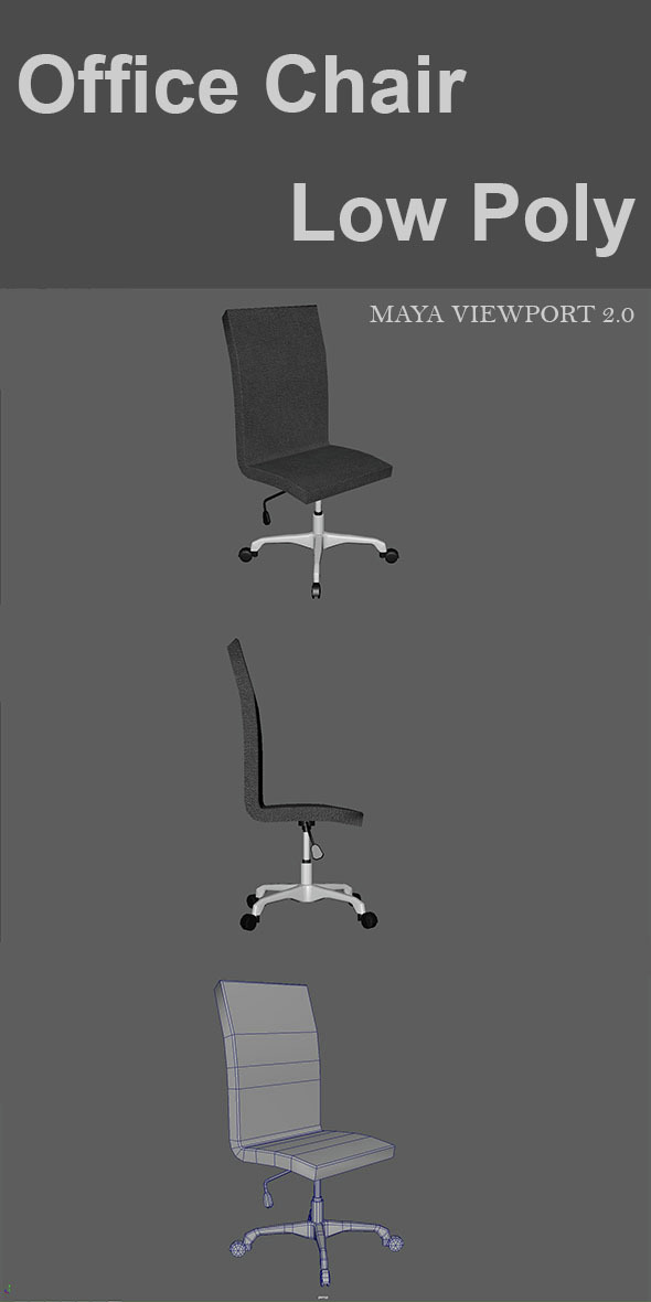 Office Chair Low Poly - 3DOcean Item for Sale