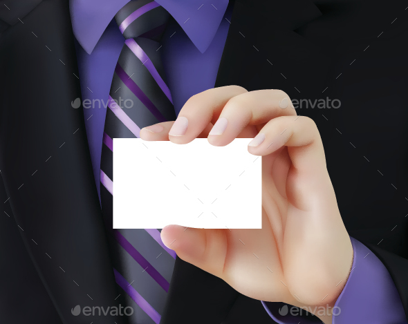 Businessman Holding Business Card - Concepts Business