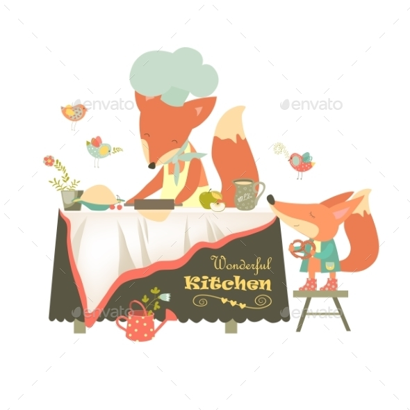 Fox Baking a Cake - Animals Characters