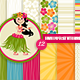 Digital Paper Set with Hawaiian Girl Illsutration - GraphicRiver Item for Sale