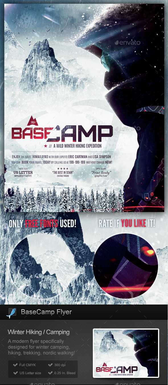 BaseCamp - Winter Hiking Flyer Template - Sports Events