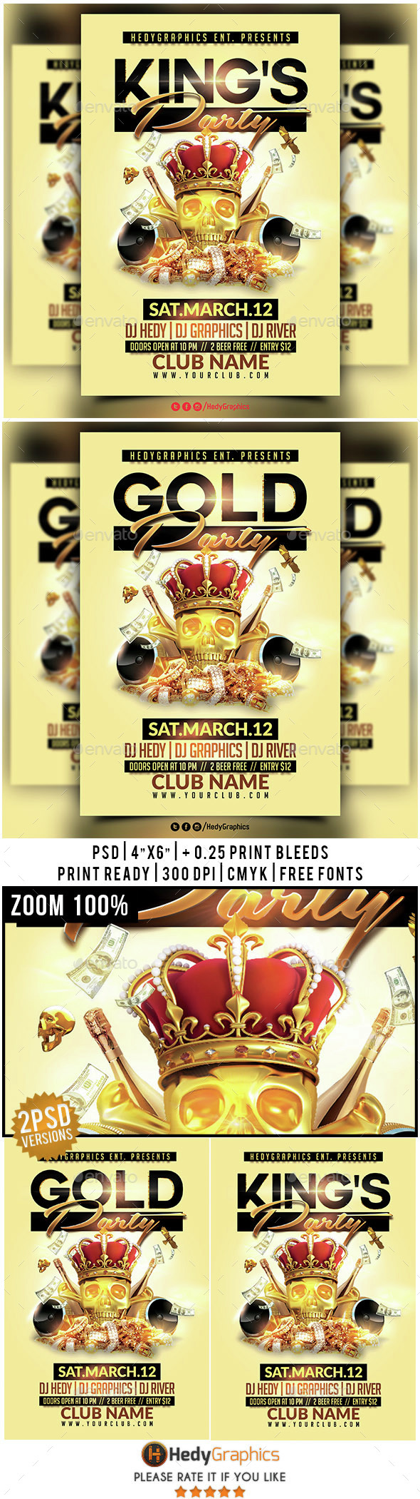 King's & Gold Party - Flyer Template - Clubs & Parties Events