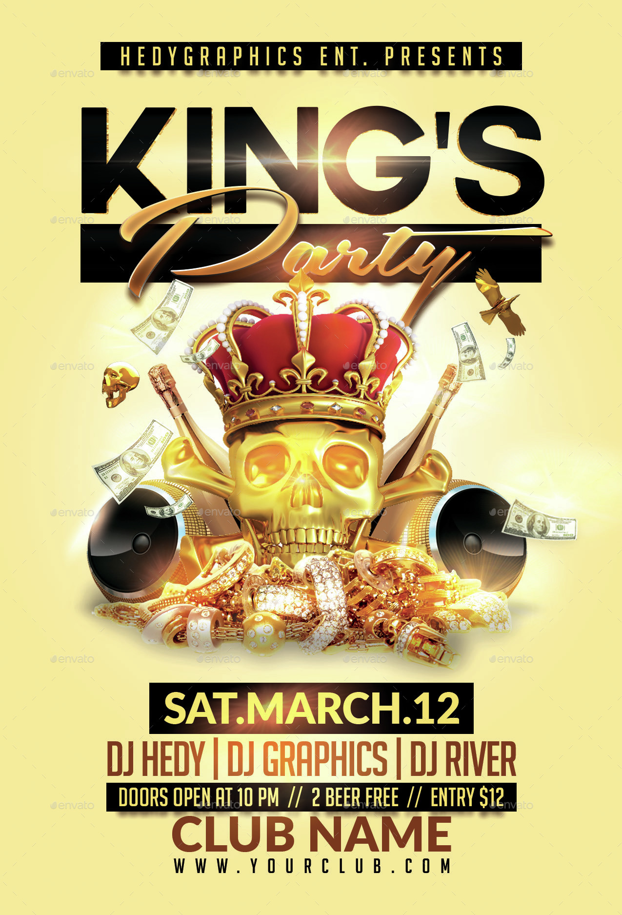 Kings Gold Party Flyer Template By Hedygraphics Graphicriver
