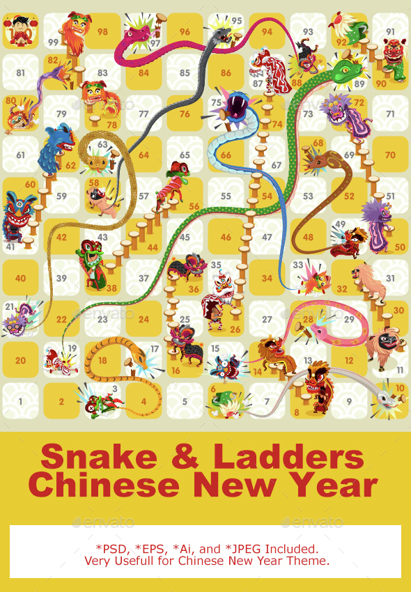 Snake and Ladder Board Game Chinese New Year - Miscellaneous Seasons/Holidays