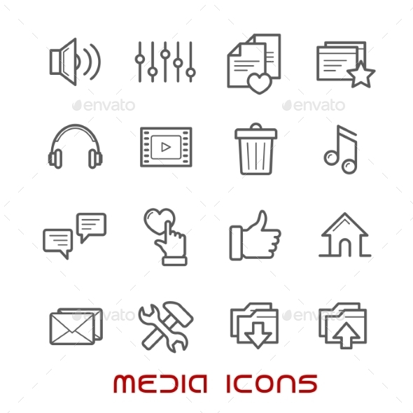 Multimedia And Media Thin Line Icons - Media Icons