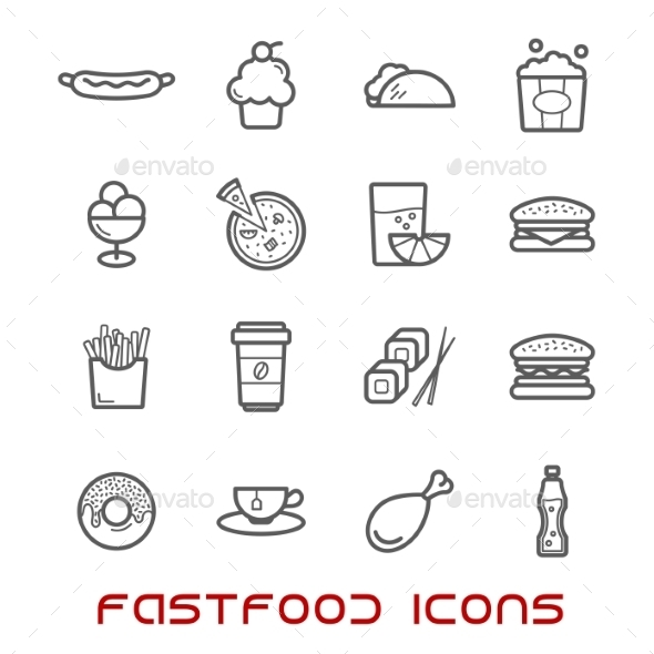 Restaurant And Fast Food Thin Line Icons - Food Objects