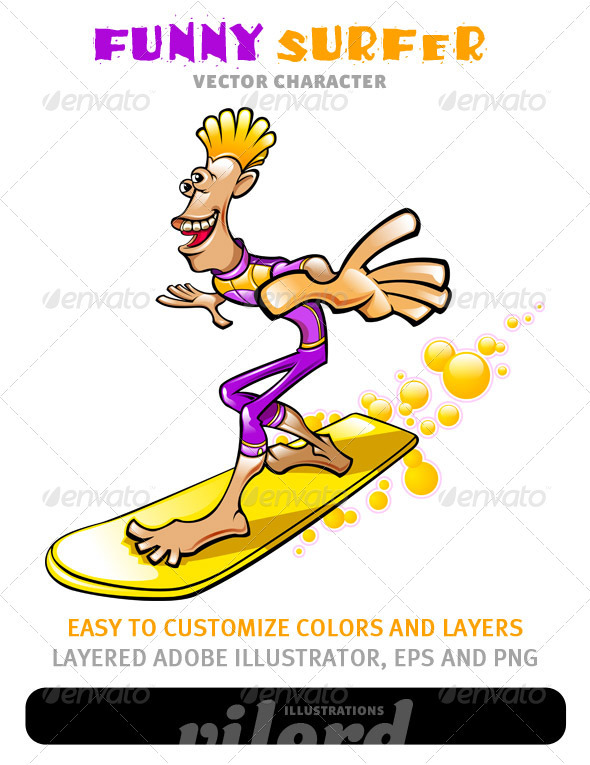 Funny Surfer Mascot - Sports/Activity Conceptual