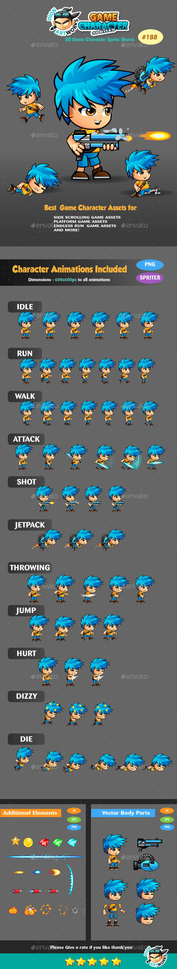 2D Game Character Sprite Sheets 188 - Sprites Game Assets