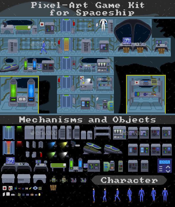 Pixel-Art Game Kit for Spaceship - Game Kits Game Assets
