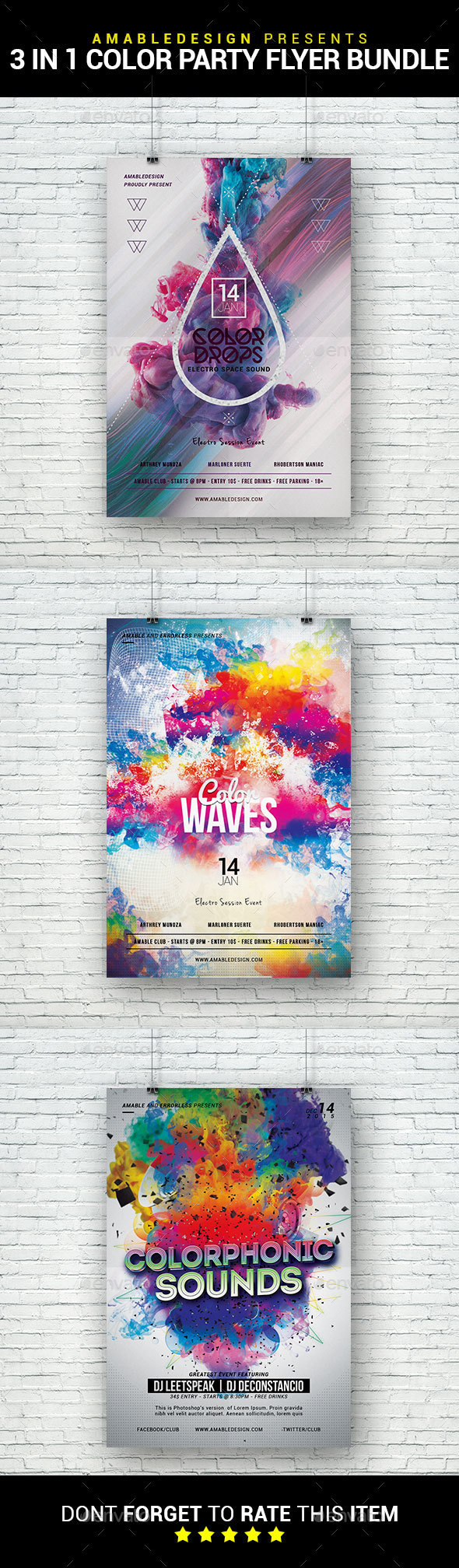 3 in 1 Color Party Flyer/Poster Bundle - Clubs & Parties Events