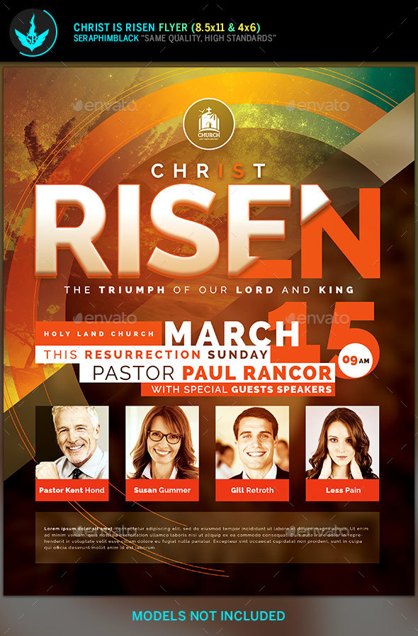 Christ Is Risen Church Flyer Template By Seraphimblack | Graphicriver