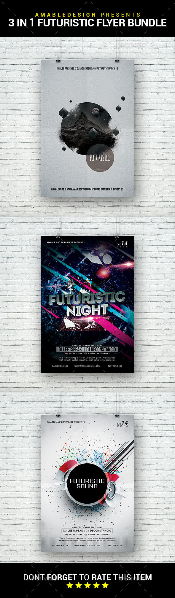 3 in 1 Futuristic Party Flyer/Poster Bundle - Clubs & Parties Events