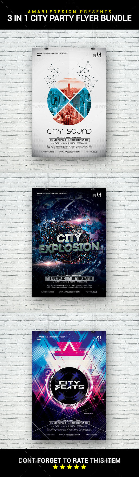 3 in 1 City Party Flyer/Poster Bundle - Clubs & Parties Events