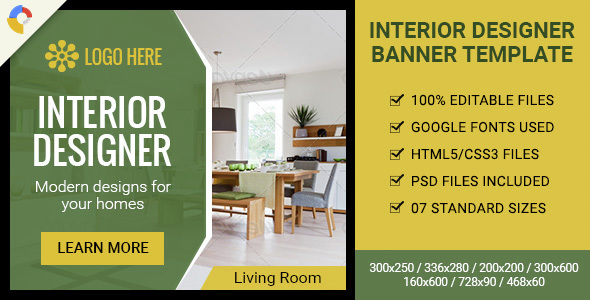 GWD | Interior Designer HTML5 Ad Banner - 07 Sizes - CodeCanyon Item for Sale