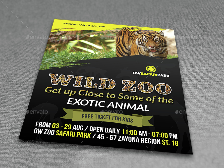 Zoo Flyer Template By Owpictures Graphicriver