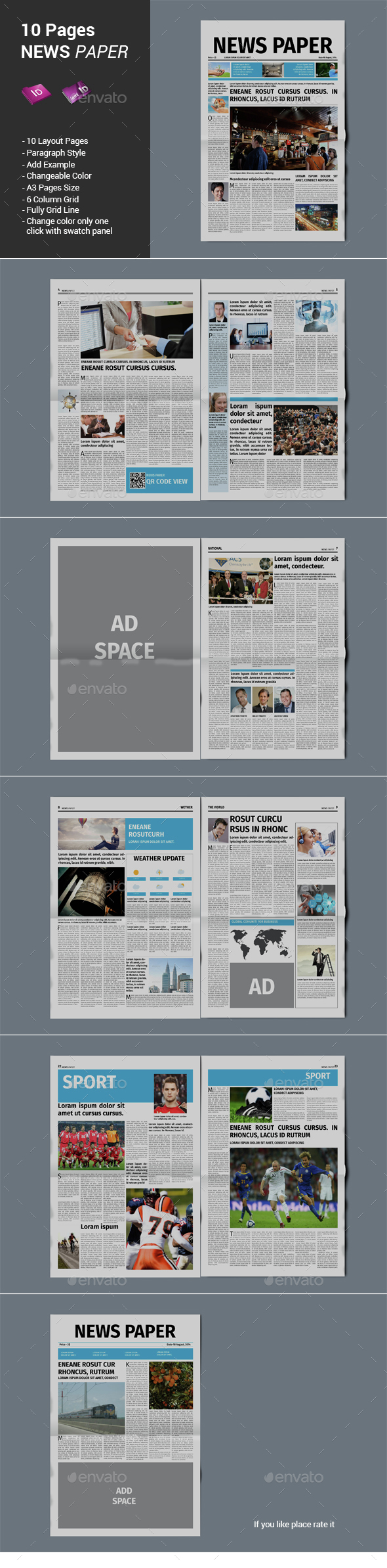 10 Pages Newspaper - Newsletters Print Templates