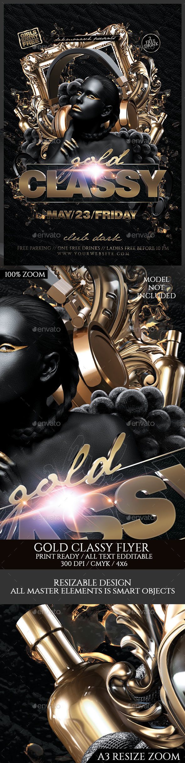 Gold Classy Night - Events Flyers