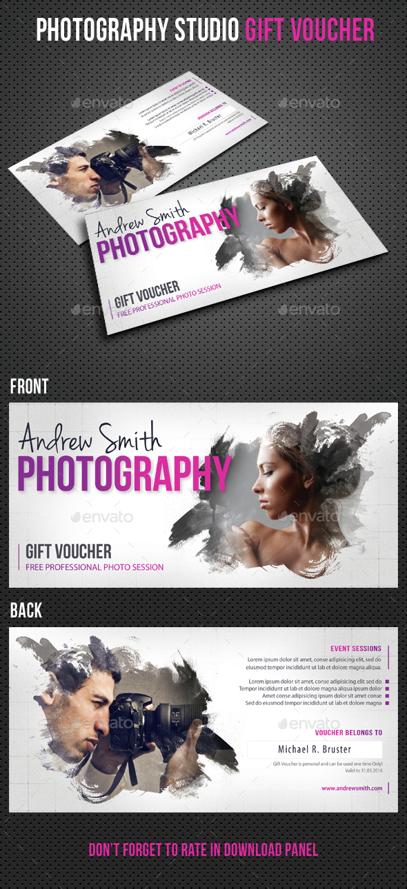Photography Studio Gift Voucher 09 - Cards & Invites Print Templates
