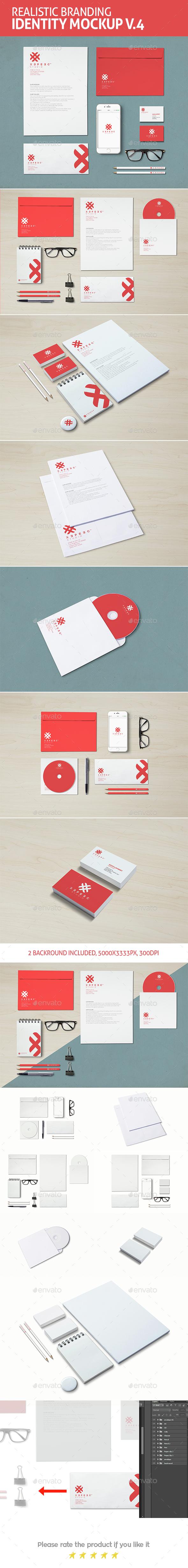 Realistic Branding & Identity Design Mockups V4 - Stationery Print