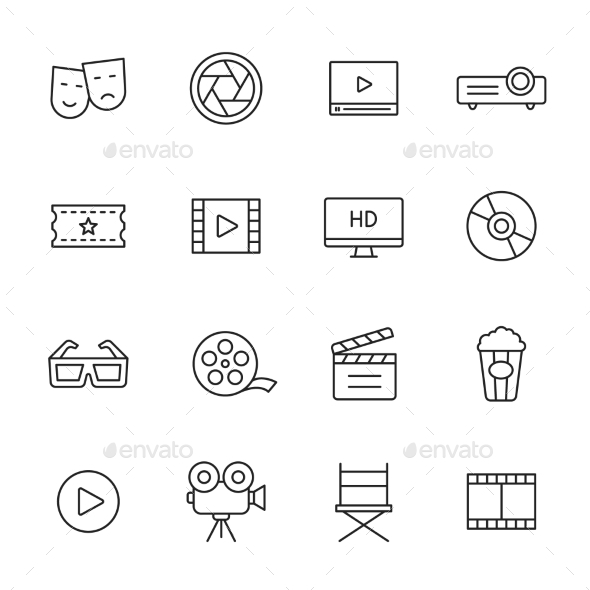 Movie Line Icons - Media Icons