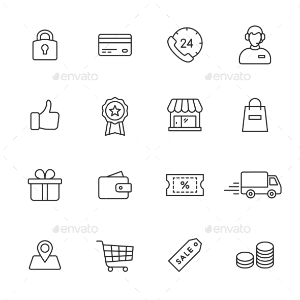 Shopping Line Icons - Business Icons