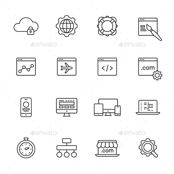 Web Development Line Icons - Web Icons