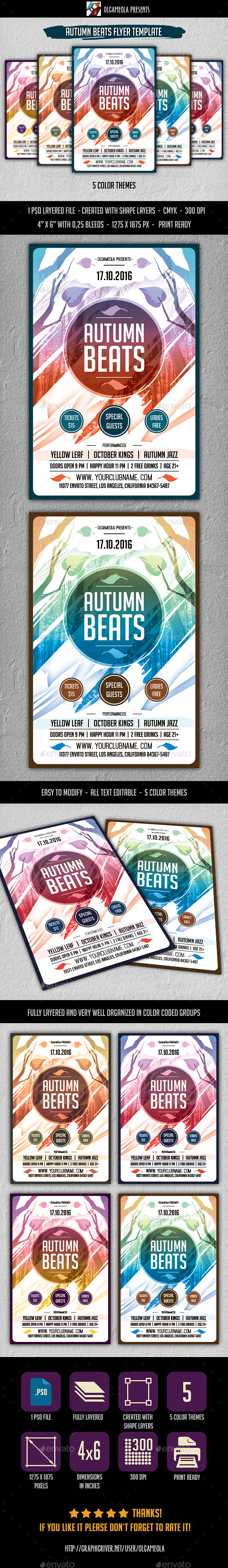 Autumn Beats Flyer Template - Clubs & Parties Events